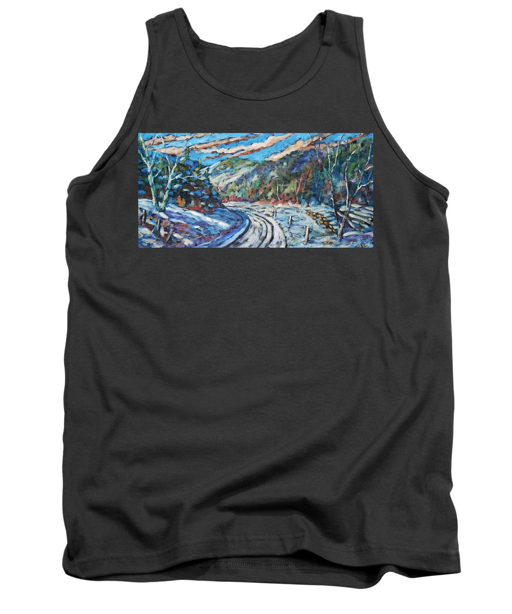 Loggers Tank Top featuring the painting Loggers Road by Richard T Pranke