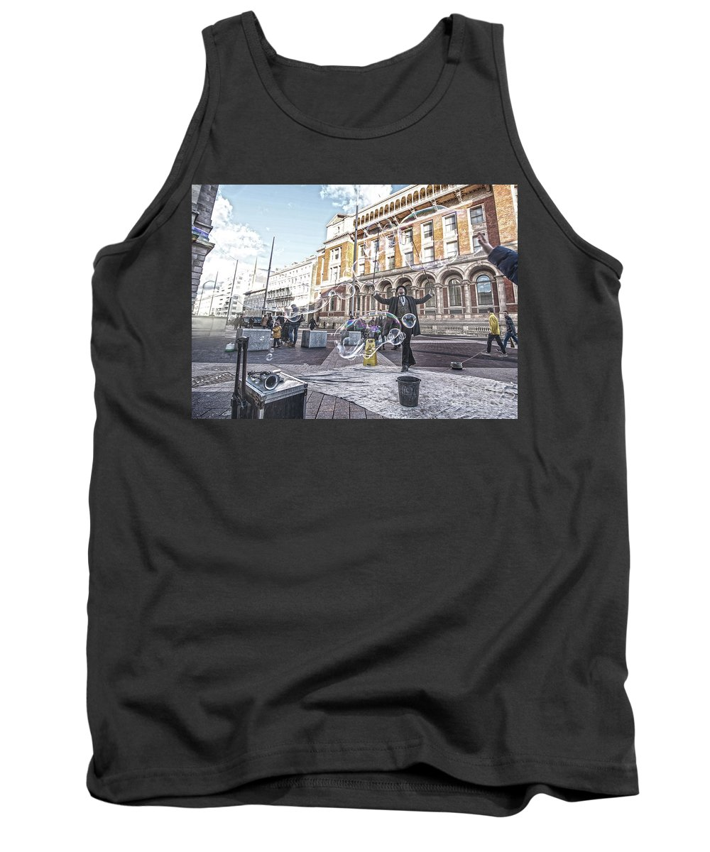 Street Artist Tank Top featuring the photograph London Bubbles 8 by Alex Art and Photo