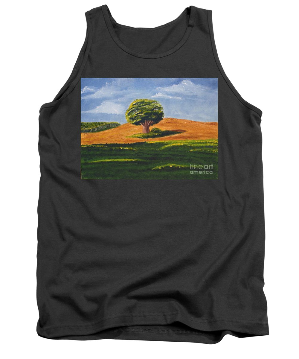 Tree Tank Top featuring the painting Lone Tree by Mendy Pedersen