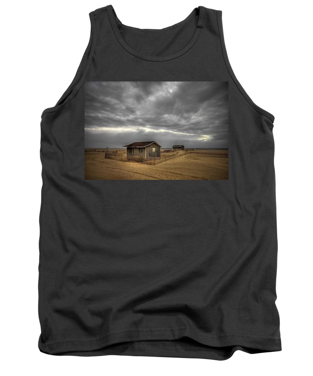 Beach Tank Top featuring the photograph Lonely Beach Shacks by Evelina Kremsdorf