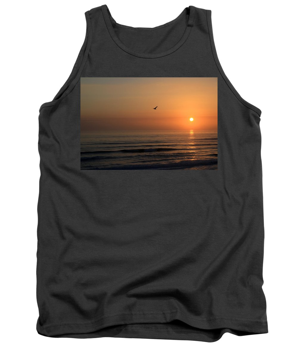 Bird Fly Flight Gull Alone Sun Sunrise Sky Ocean Wave Reflection Nature Golden Gold Tank Top featuring the photograph Lonely Flight by Andrei Shliakhau