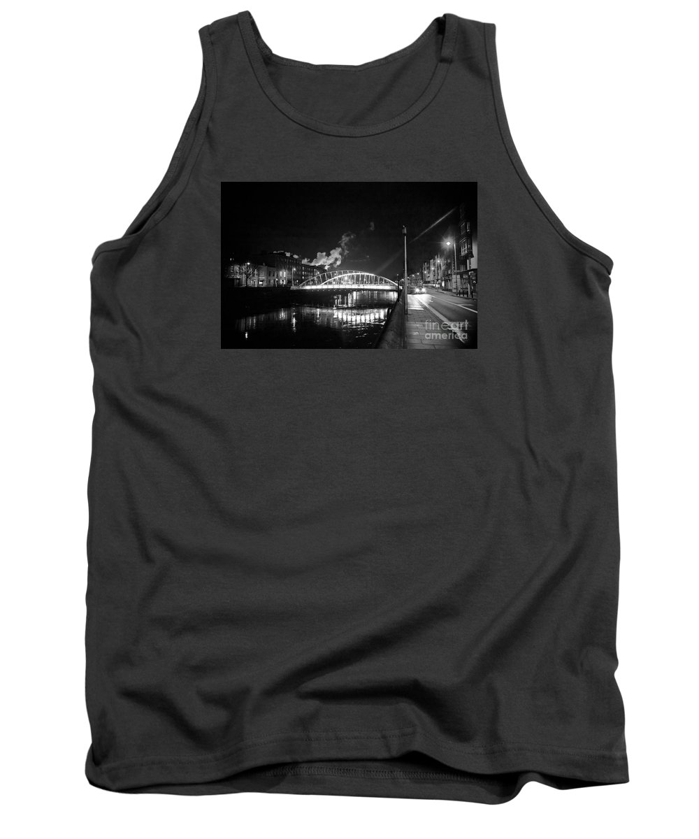 Guinness Storehouse Smoke Tank Top featuring the photograph Lonely Night Bw by Alex Art and Photo