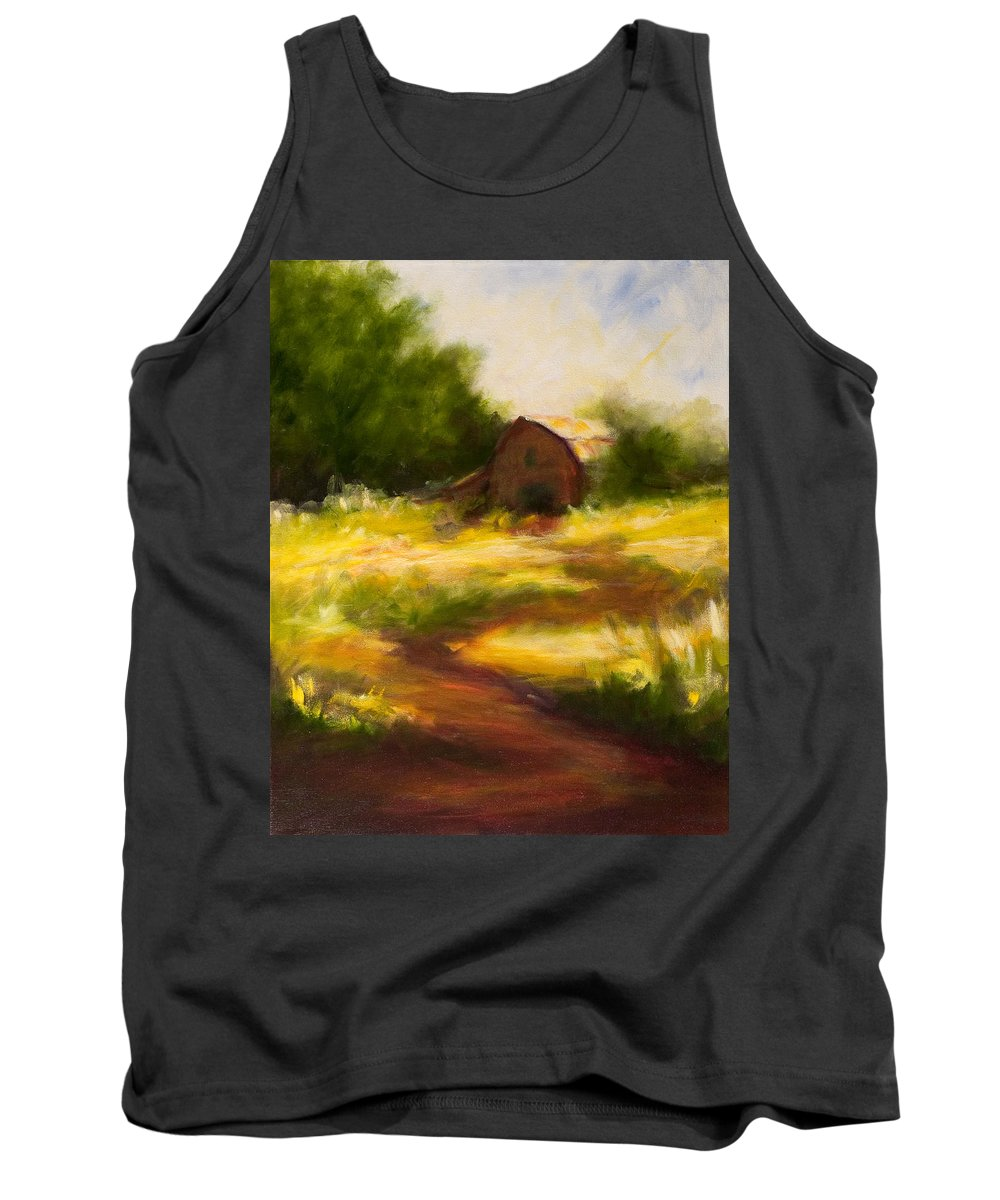 Landscape Tank Top featuring the painting Long Road Home by Shannon Grissom