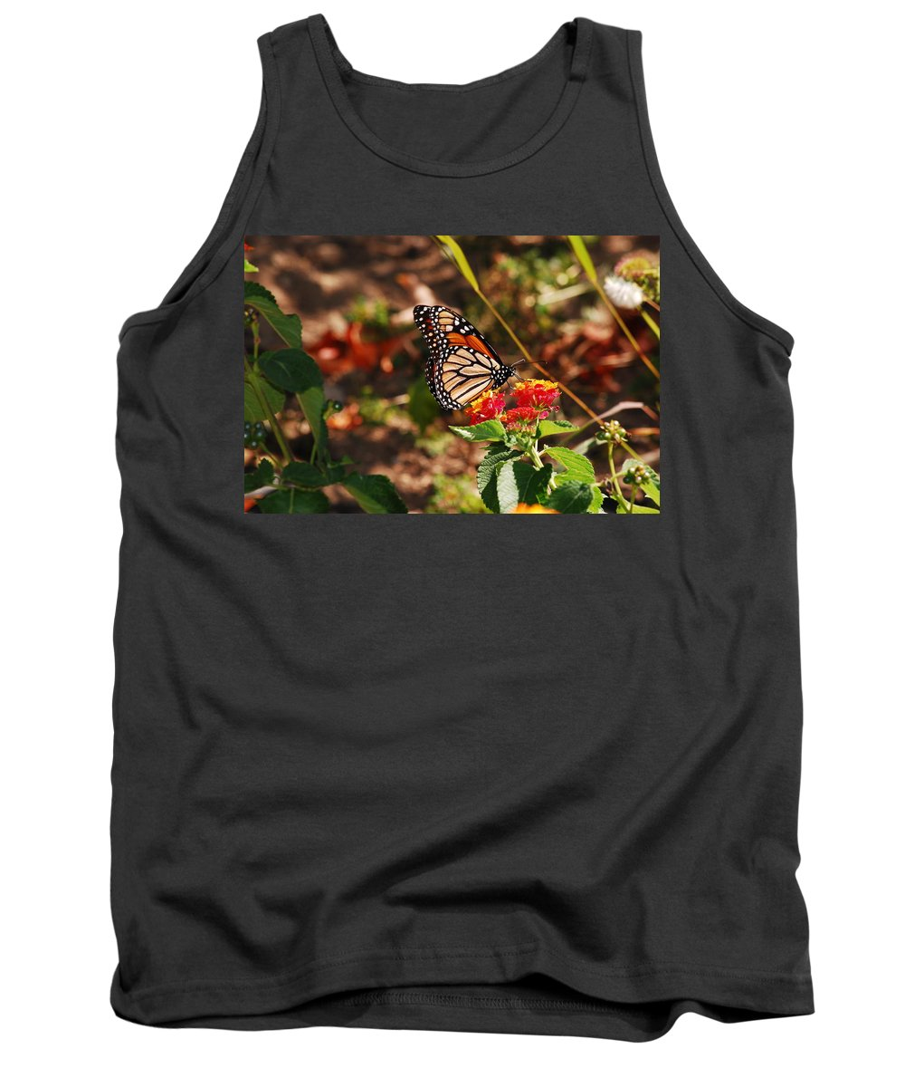 Monarch Tank Top featuring the photograph Looking For Nectar by Lori Tambakis