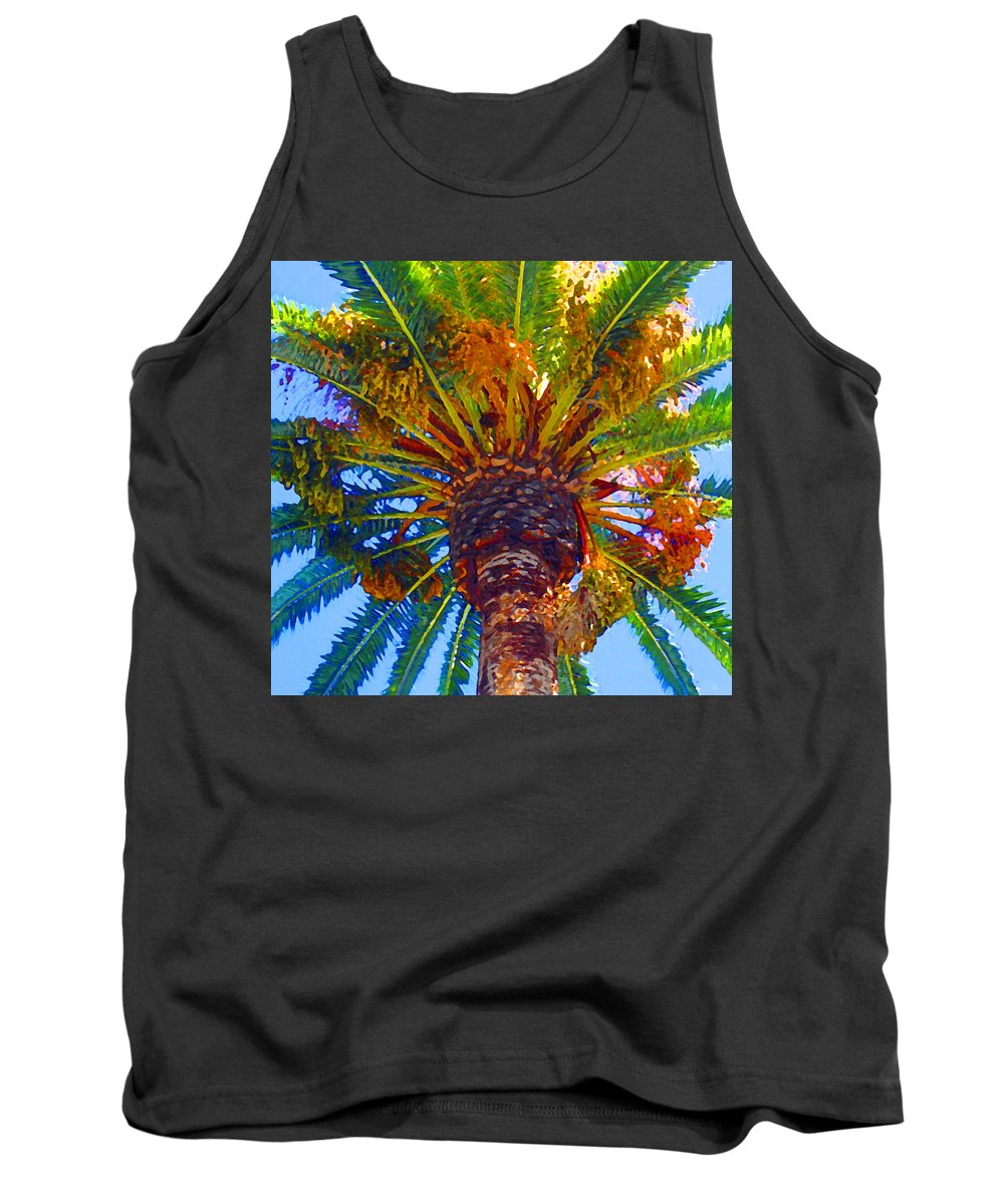 Garden Tank Top featuring the painting Looking Up At Palm Tree by Amy Vangsgard