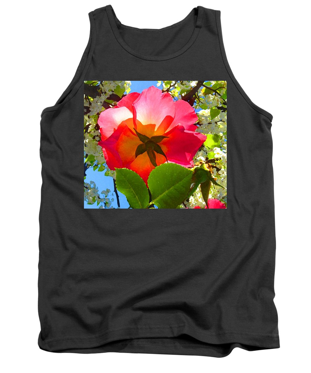Roses Tank Top featuring the photograph Looking Up At Rose And Tree by Amy Vangsgard