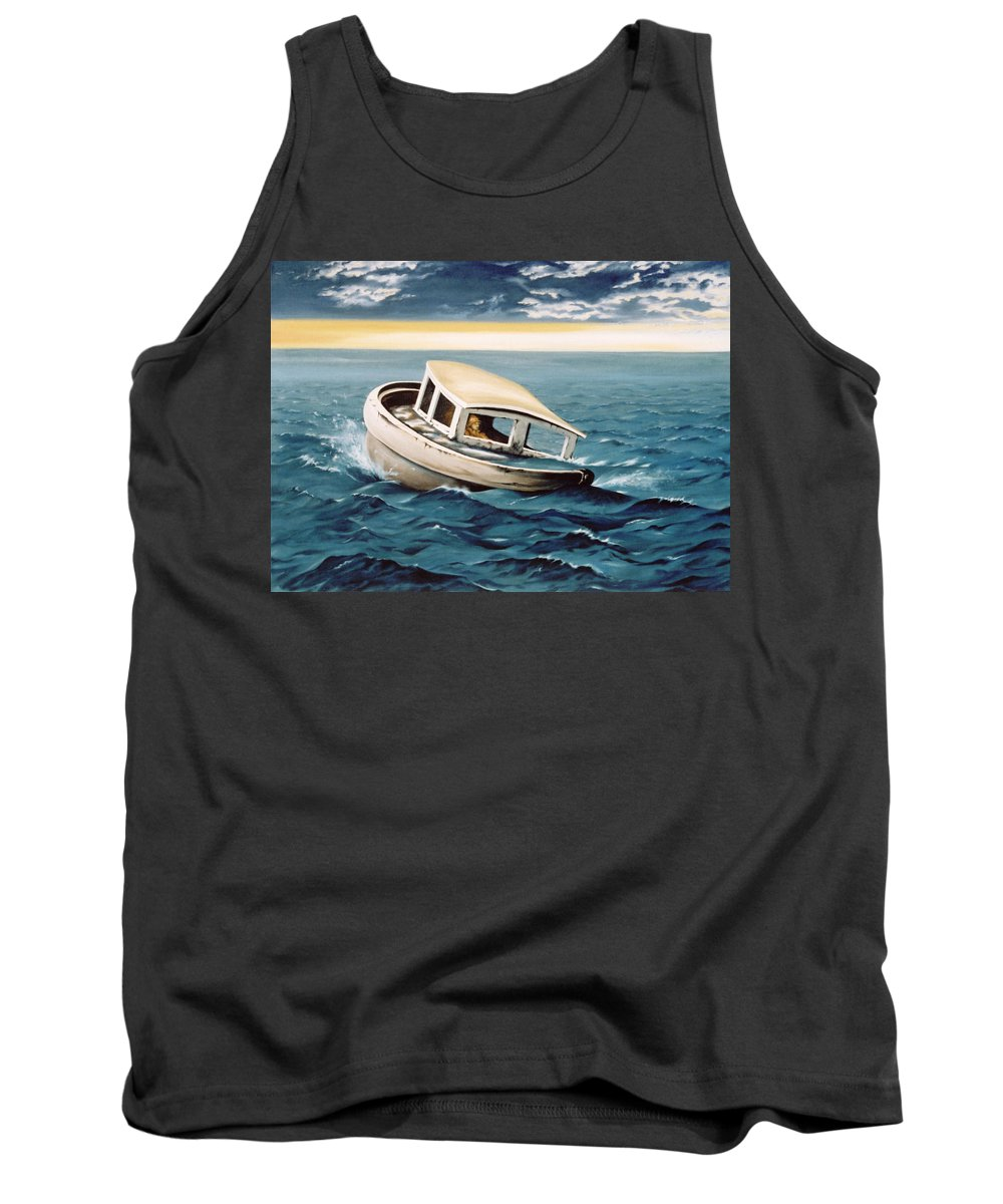 Seascape Tank Top featuring the painting Lost At Sea by Mark Cawood
