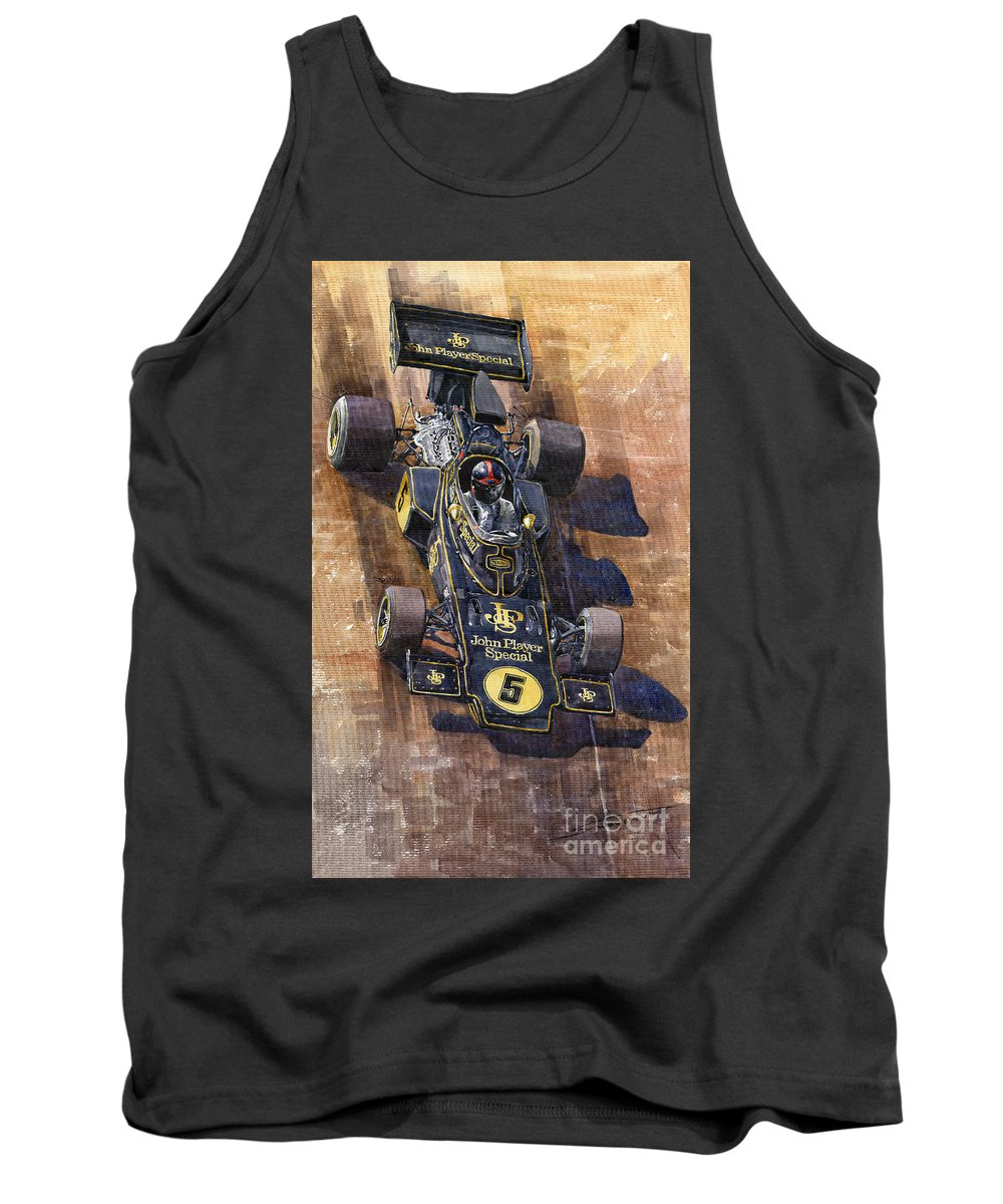 Watercolour Tank Top featuring the painting Lotus 72 Canadian Gp 1972 Emerson Fittipaldi by Yuriy Shevchuk