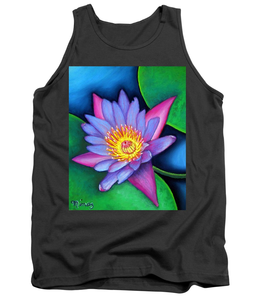 Flower Tank Top featuring the painting Lotus Divine by Minaz Jantz