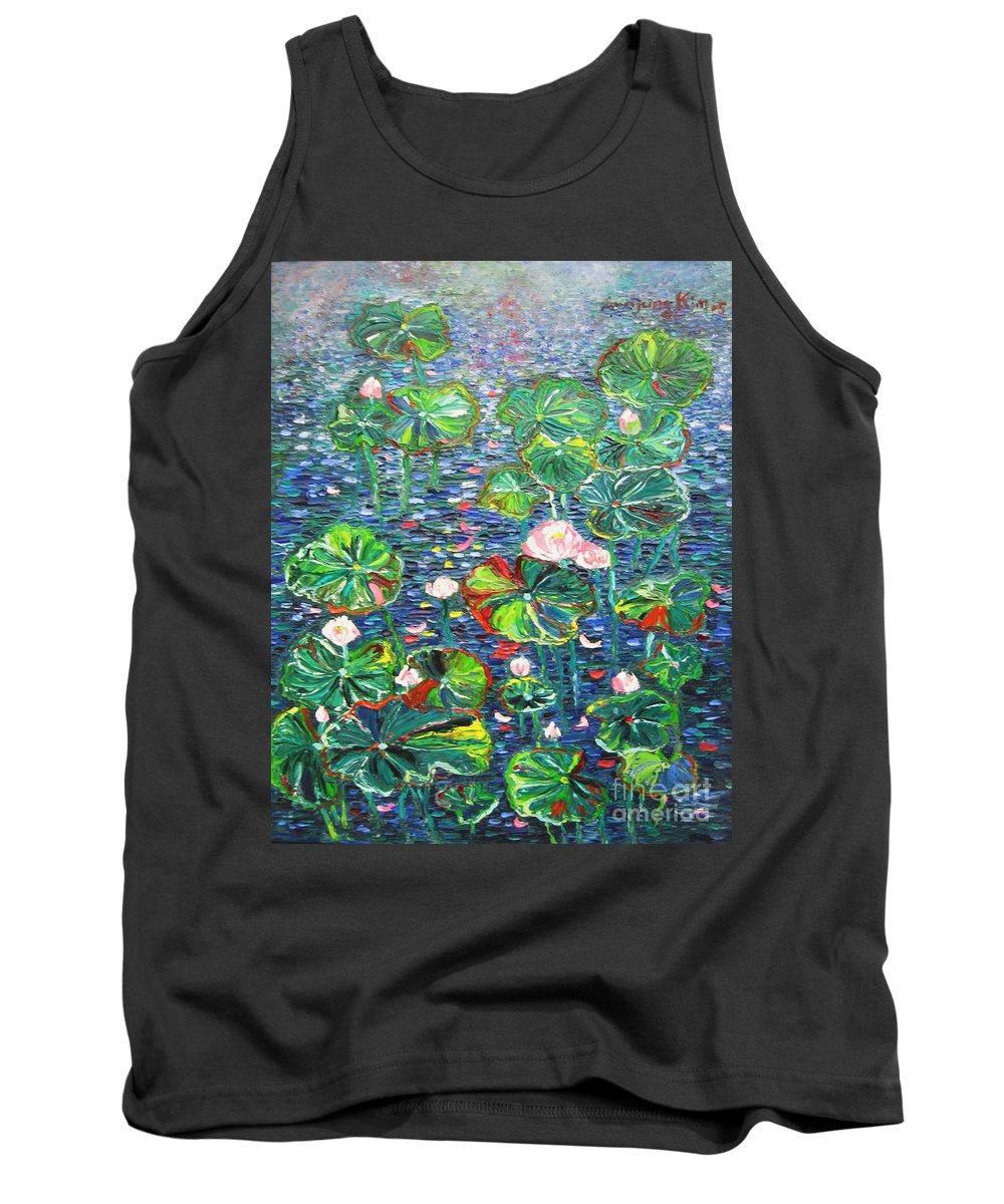 Water Lily Paintings Tank Top featuring the painting Lotus Flower Water Lily Lily Pads Painting by Seon-Jeong Kim