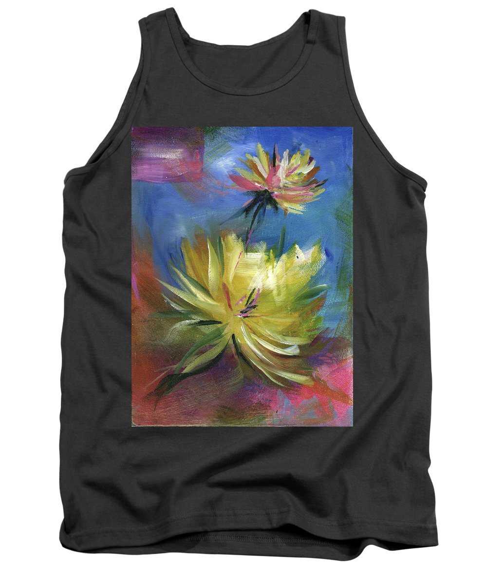 Flower Tank Top featuring the painting Lotus by Melody Horton Karandjeff