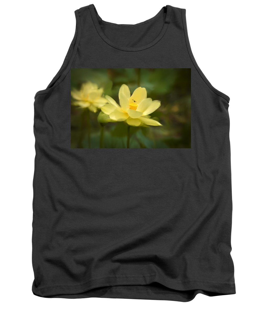 Lotus Tank Top featuring the painting Lotus With Bee by Rich Leighton