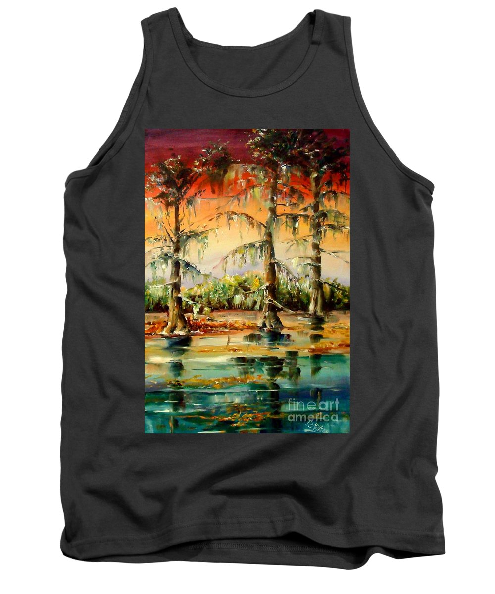 Louisiana Tank Top featuring the painting Louisiana Swamp by Diane Millsap