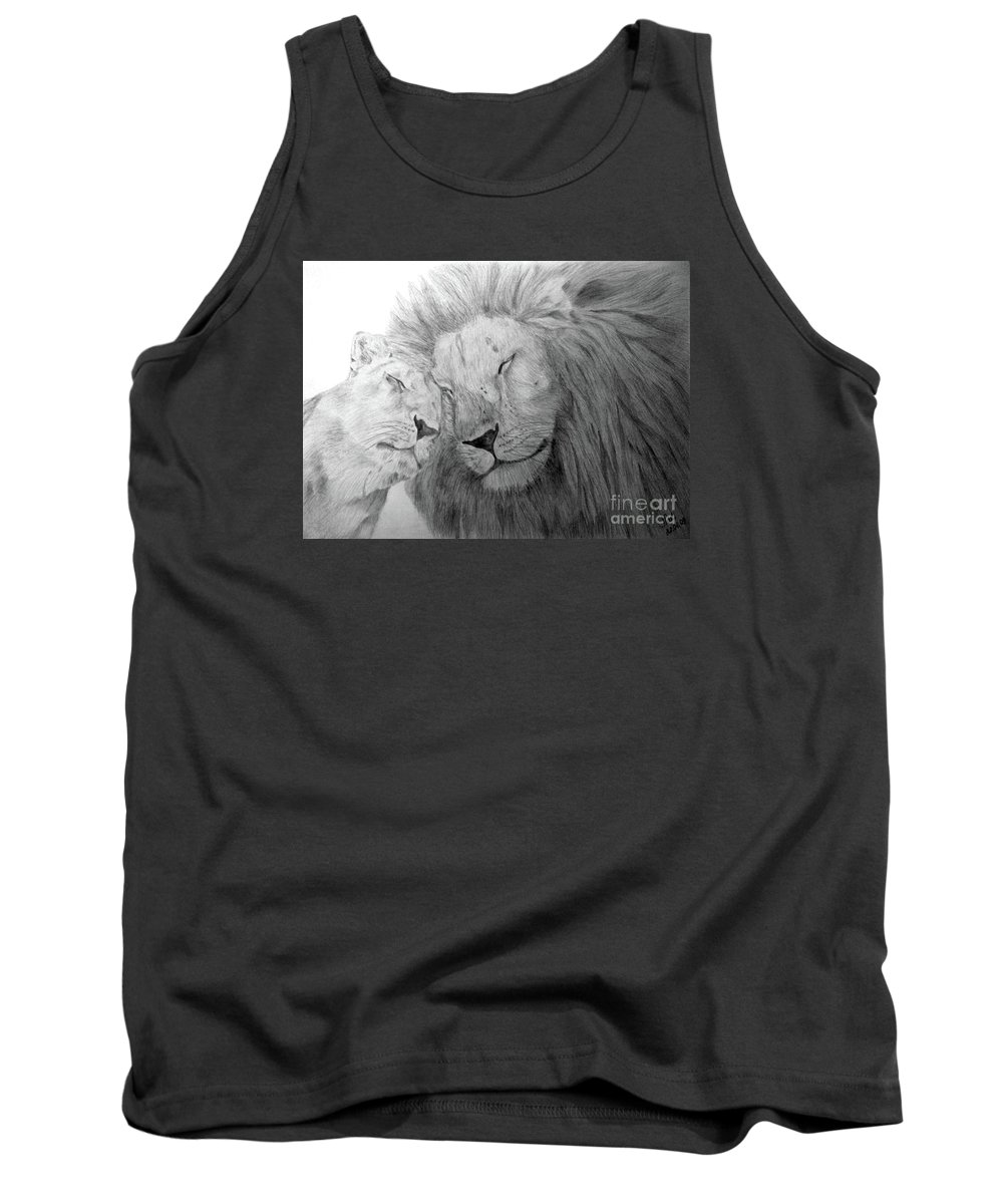 Lions Wild Cats Animals Drawing Pencil Paper Tank Top featuring the drawing Love by Nadi Sabirova