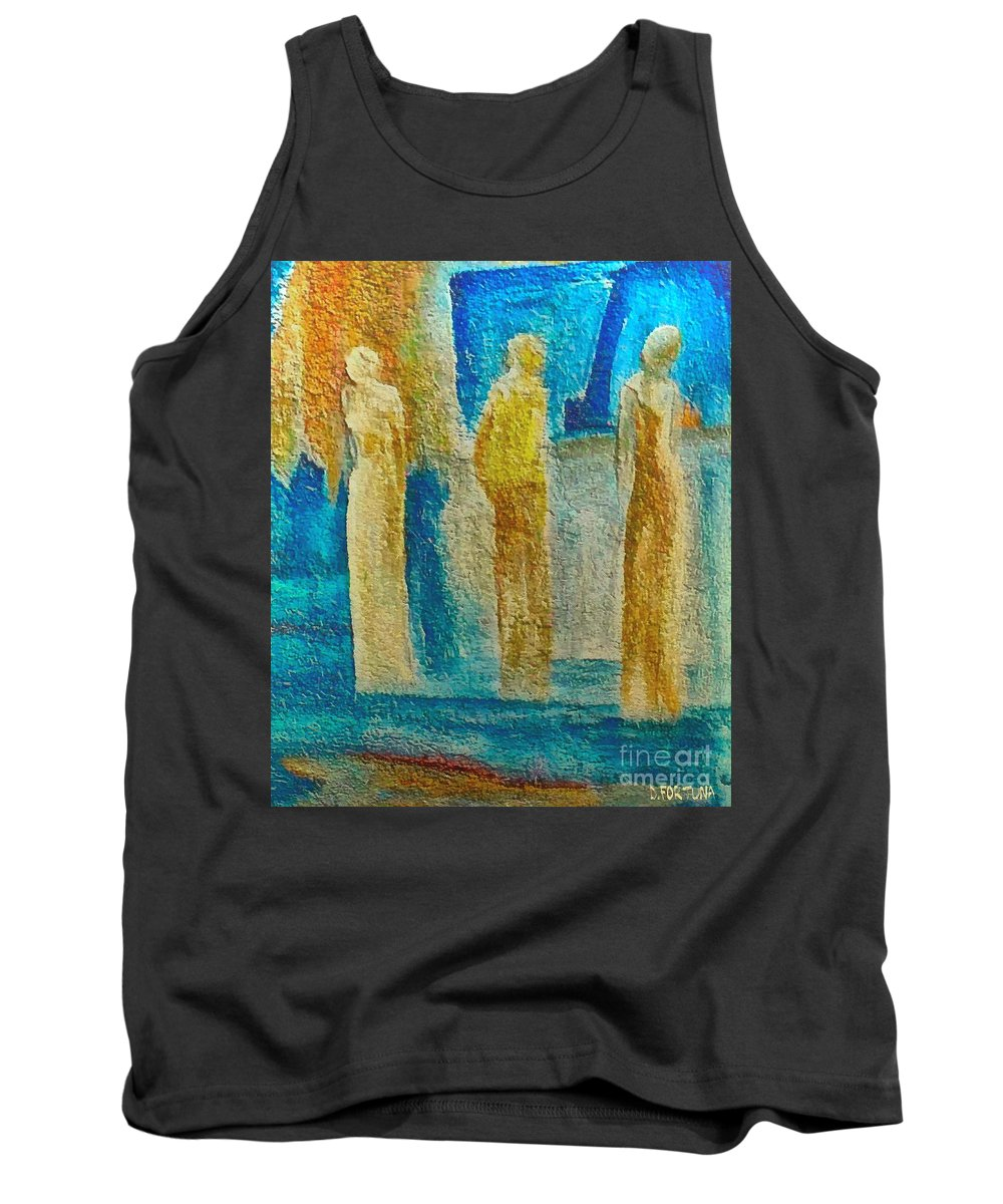 Mixed Media Tank Top featuring the mixed media Love Triangle by Dragica Micki Fortuna