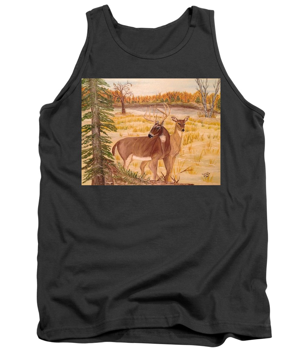 Whitetail Deer Tank Top featuring the painting Lovers by Francine Spagnuolo