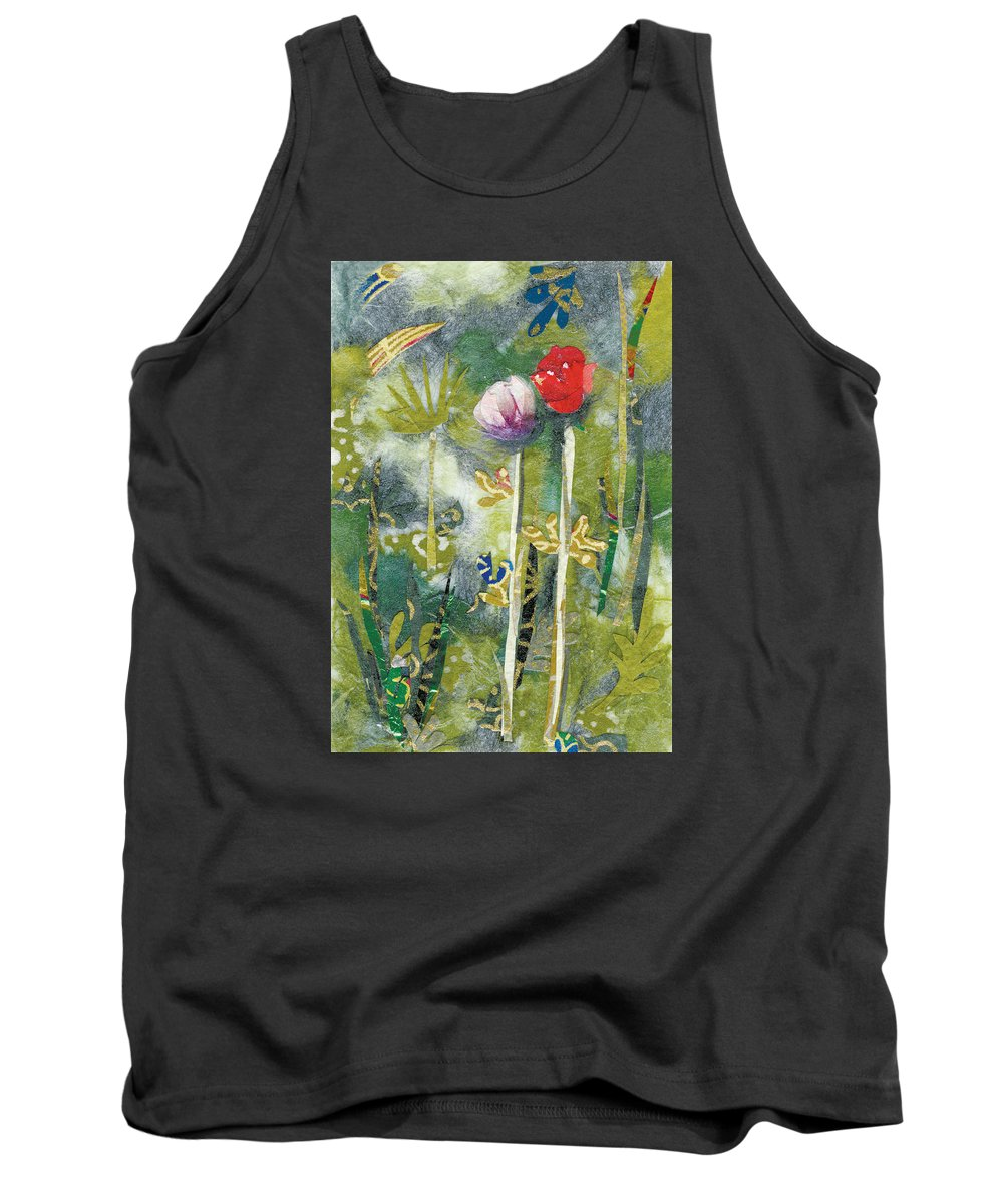 Pair Of Flowers Tank Top featuring the painting Lovers by Nira Schwartz