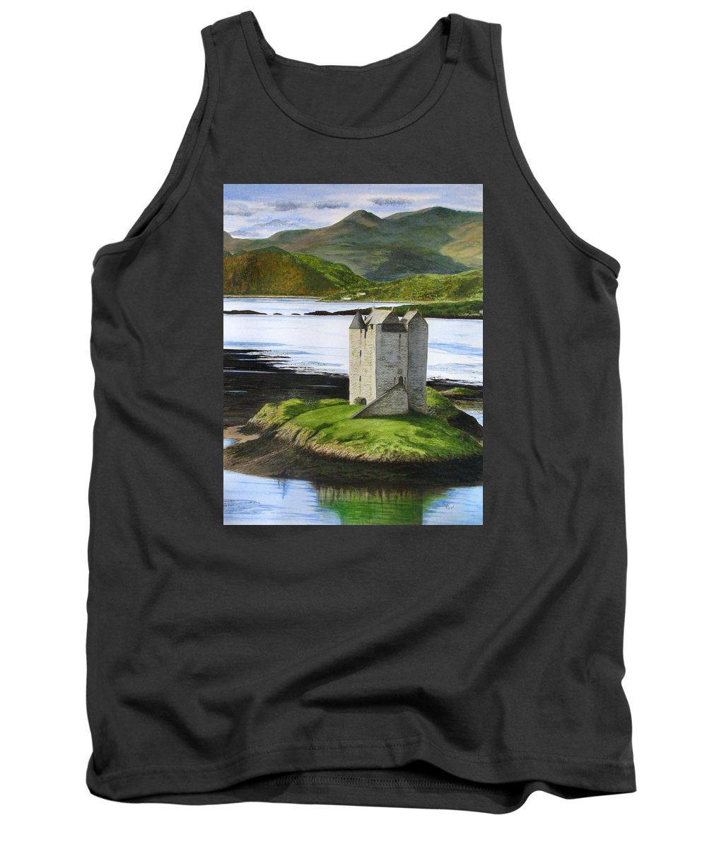 Scotland Tank Top featuring the painting Low Tide At Castle Stalker by Fay Reid