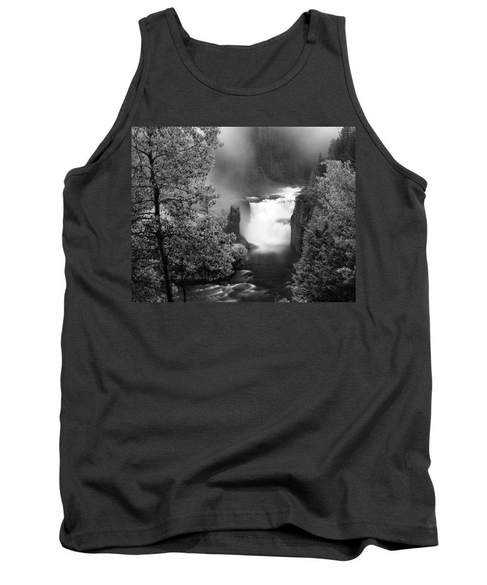 Black And White Tank Top featuring the photograph Lower Mesa Falls by Leland D Howard