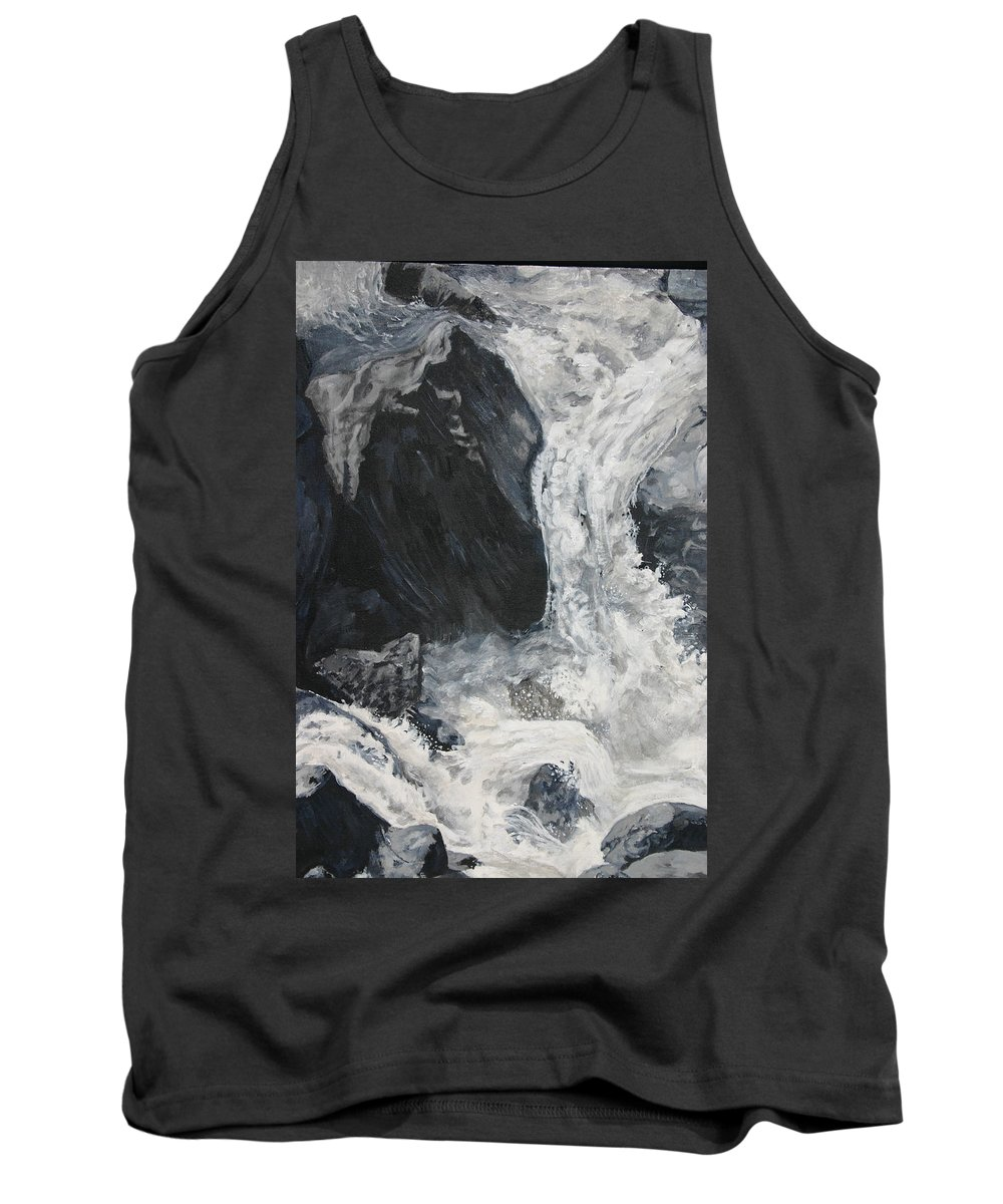Water Tank Top featuring the painting Lower Vernal Black and White by Travis Day