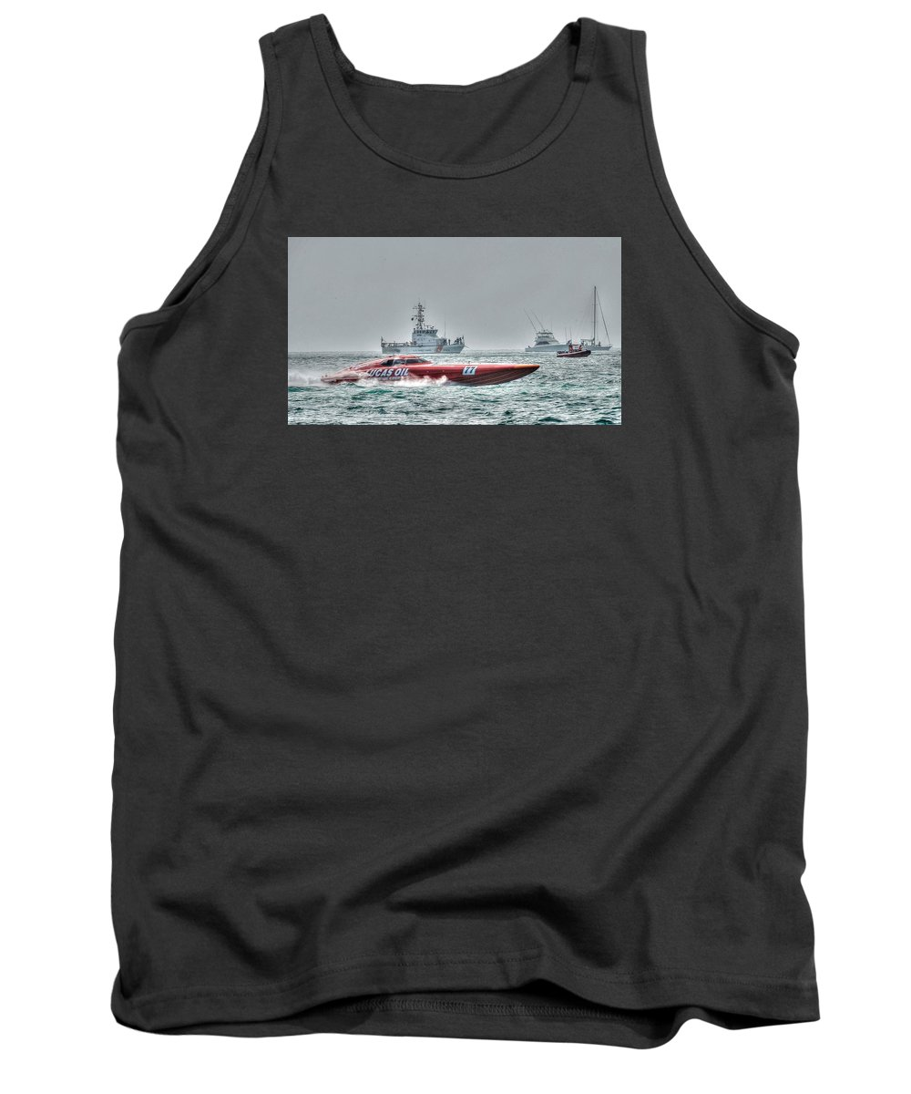 Key West Florida 2015 Superboat Offshore Powerboat Racing. This Is The Lucas Oil Racing Boat With Coast Guard And Pleasure Boats Watching The Races. Taken From Fort Zachary Taylor Shoreline. Tank Top featuring the photograph Lucas Oil Superboat Race by Mark Reinnoldt