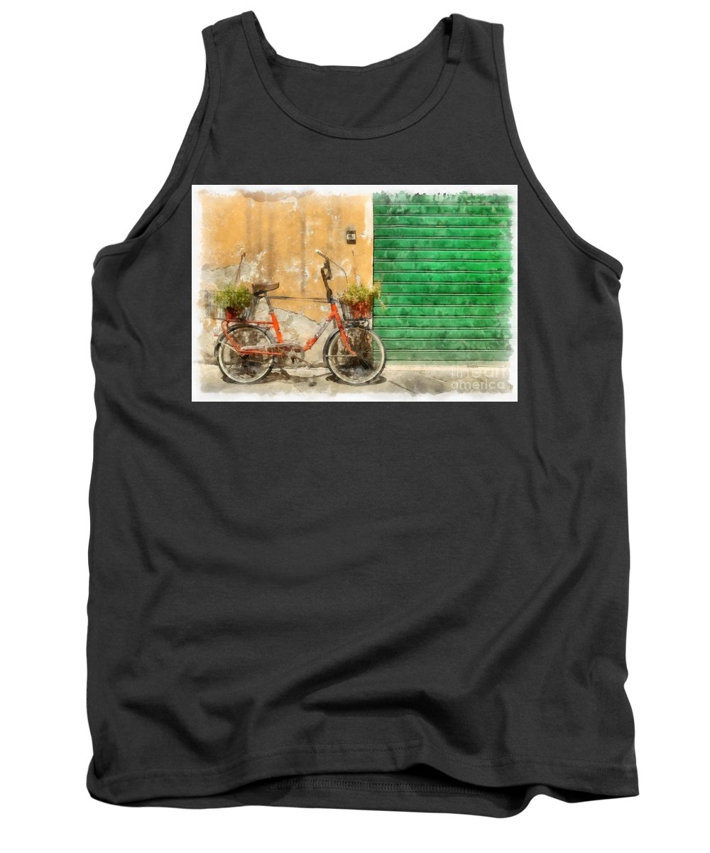 Lucca Tank Top featuring the painting Lucca Italy Bike Watercolor by Edward Fielding