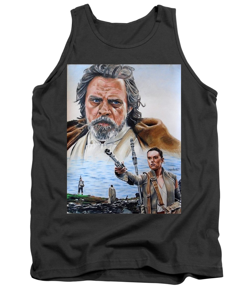 Star Wars Tank Top featuring the drawing Luke And Rey by Joseph Christensen