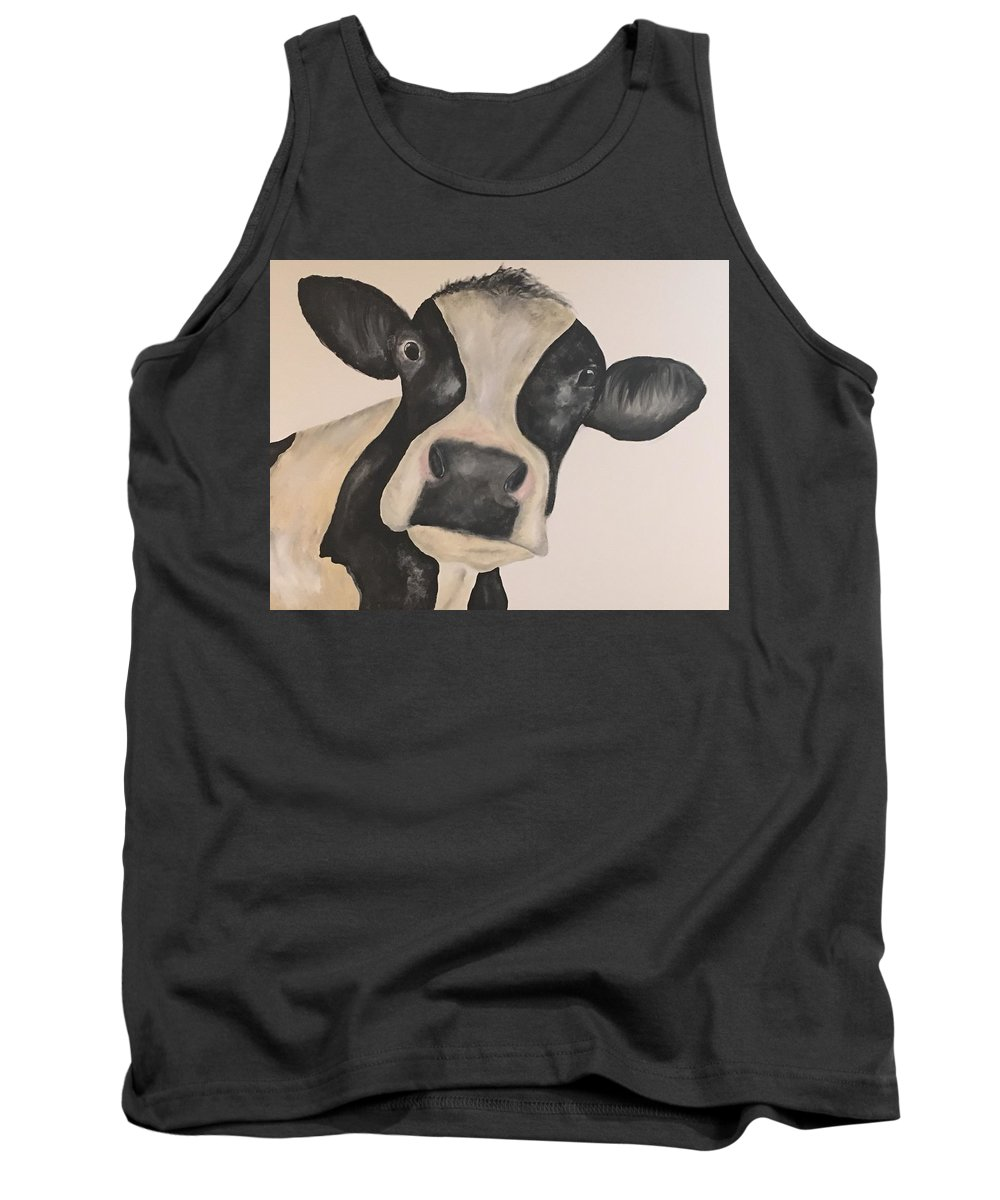 Cow Tank Top featuring the painting Lulu by Kimberly Daily