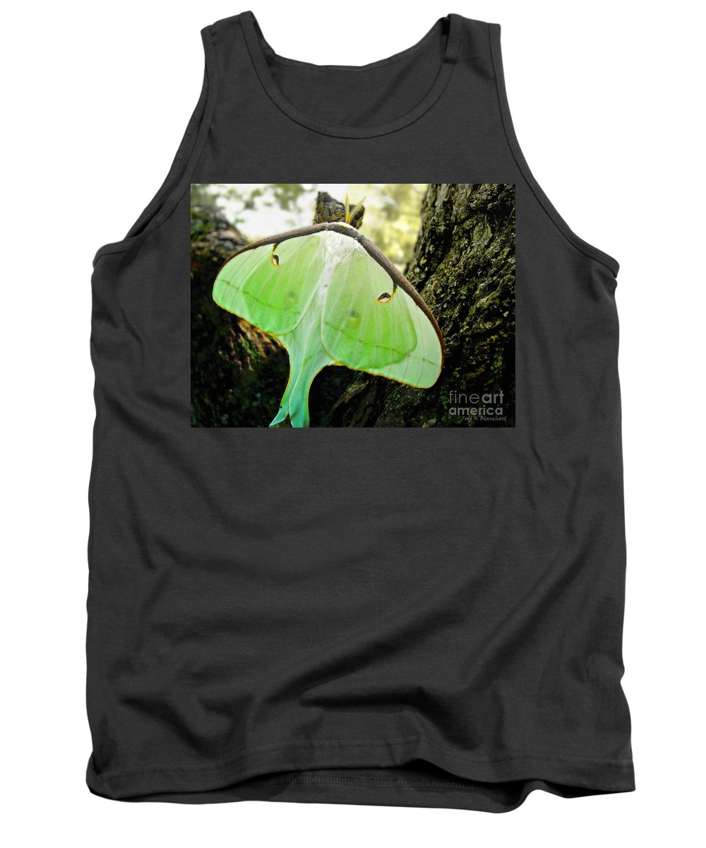 Macro Tank Top featuring the photograph Luna Moth No. 3 by Todd Blanchard