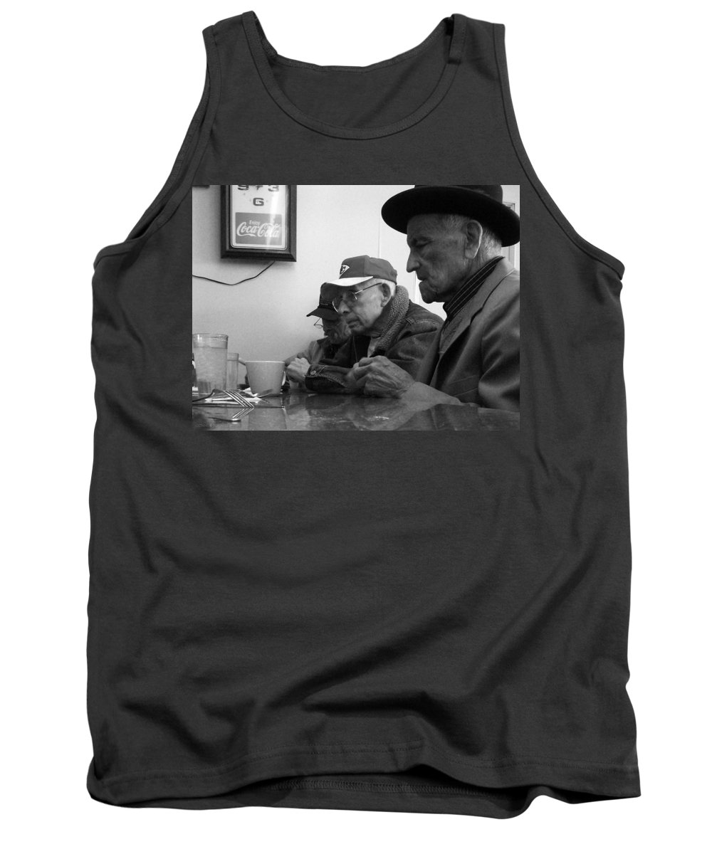 Diner Tank Top featuring the photograph Lunch Counter Boys - Black And White by Tim Nyberg