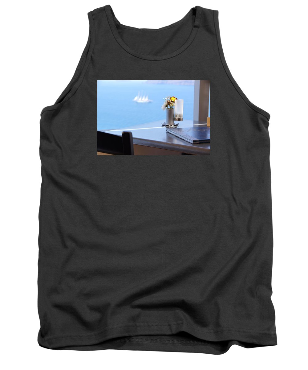Ship Tank Top featuring the photograph Lunch Over Santorini by Ron Koivisto