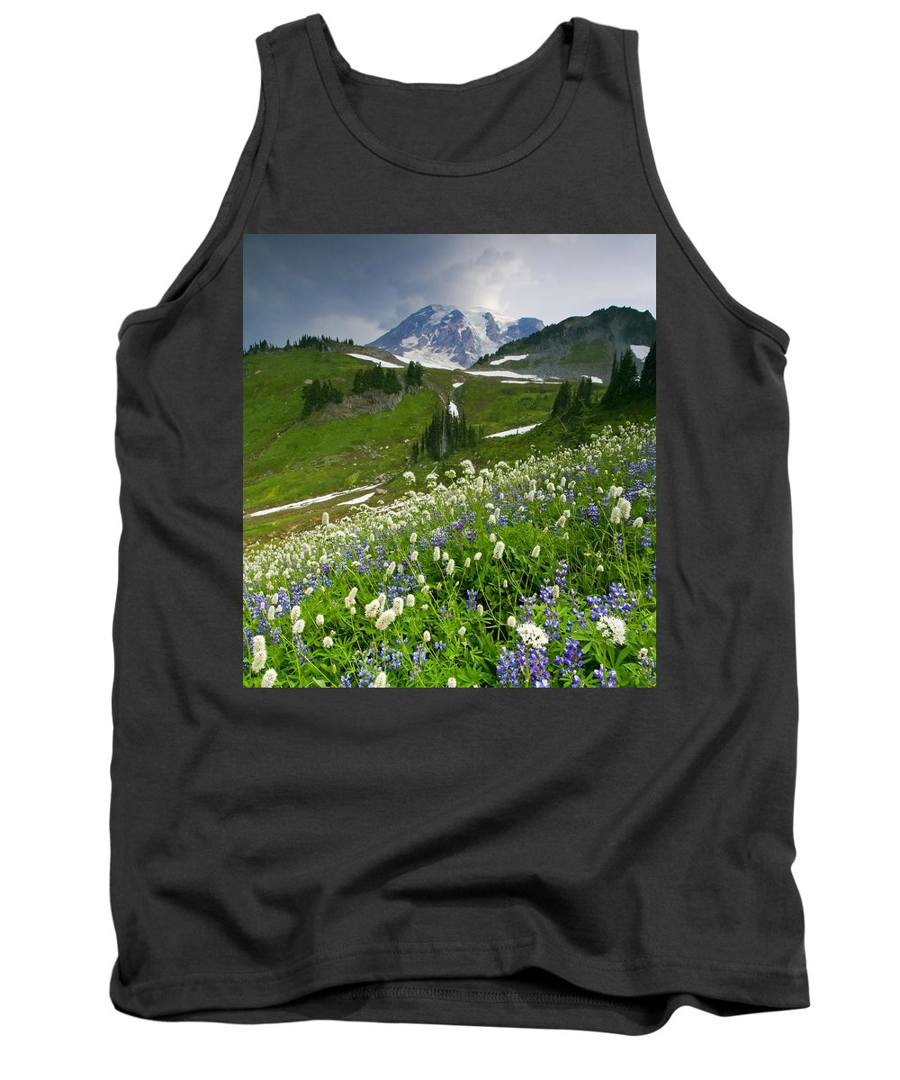 Rainier Tank Top featuring the photograph Lupine Storm by Mike Dawson
