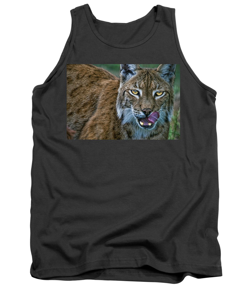 Cat Tank Top featuring the photograph Lynx Licks Lips by Chris Lord