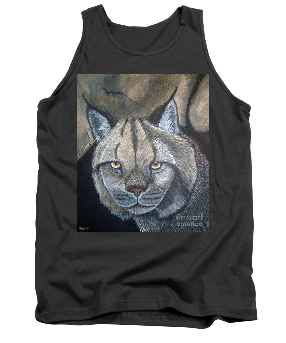 Lynx Tank Top featuring the painting Lynx by Nick Gustafson