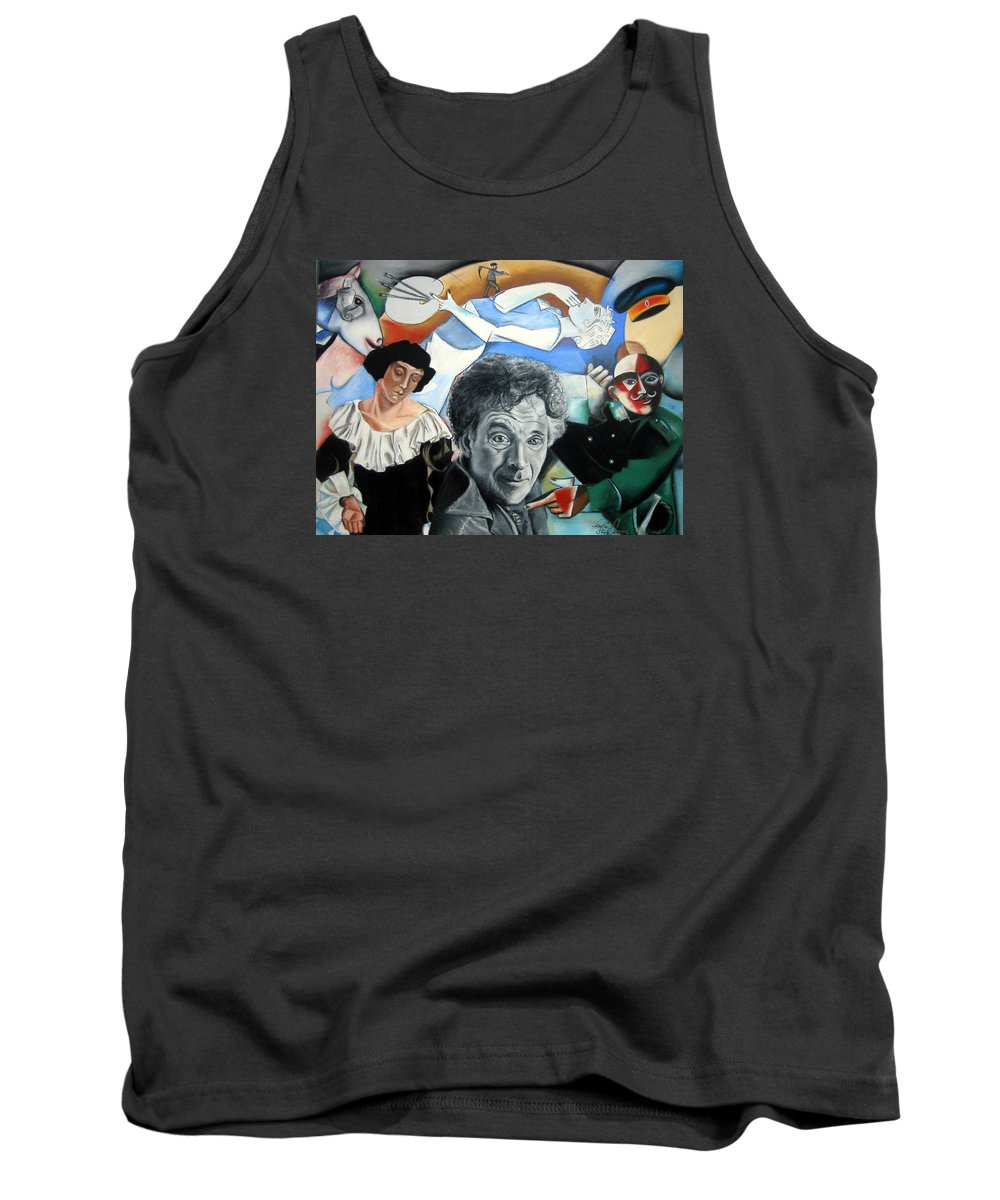Chagall Portrait Tank Top featuring the drawing M Chagall by Leyla Munteanu