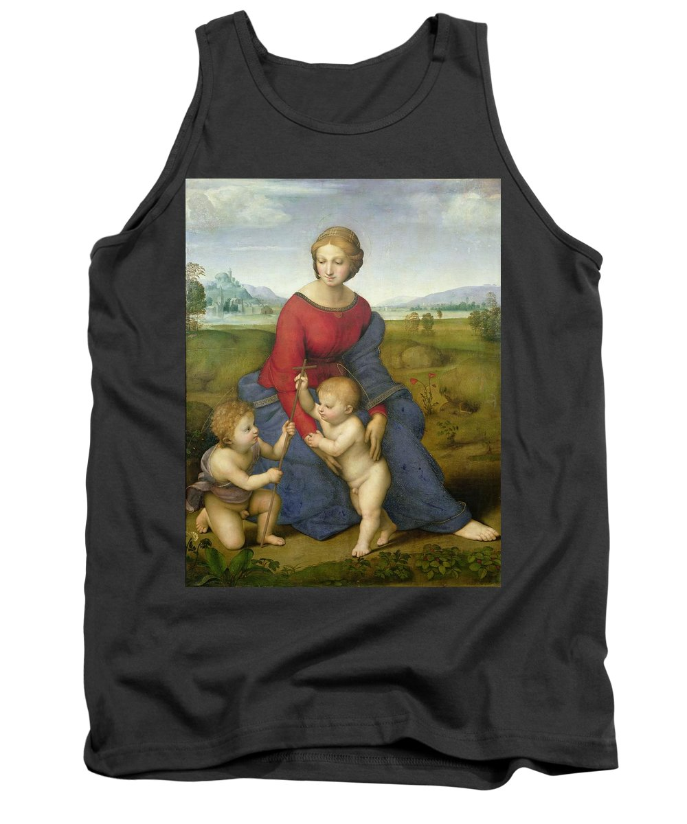 Madonna Tank Top featuring the painting Madonna In The Meadow by Raphael