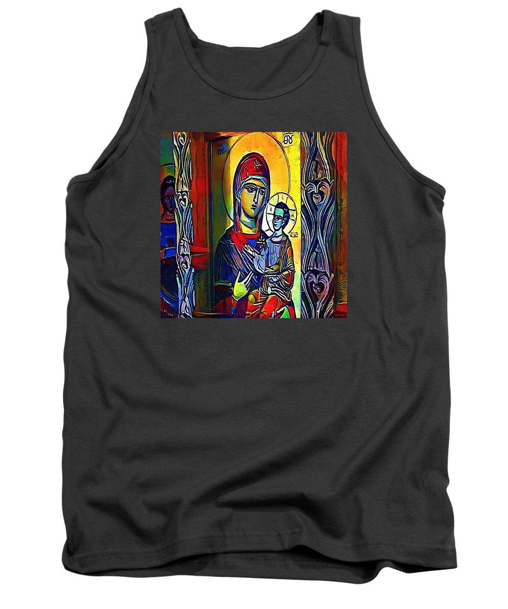 Jesus Tank Top featuring the digital art Madonna With The Child - My Www Vikinek-art.com by Viktor Lebeda