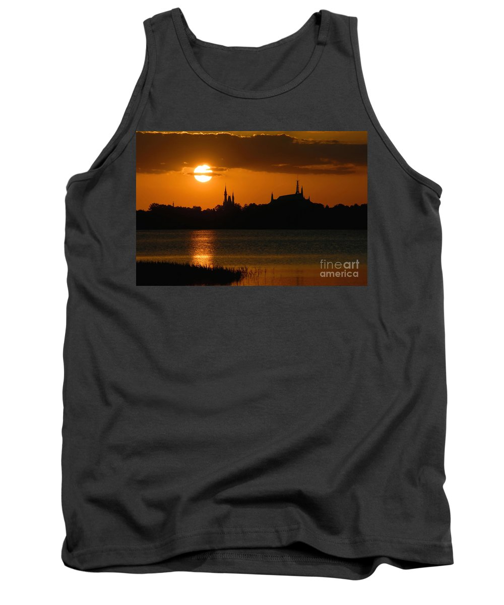 Disney World Tank Top featuring the photograph Magic Kingdom Sunset by David Lee Thompson