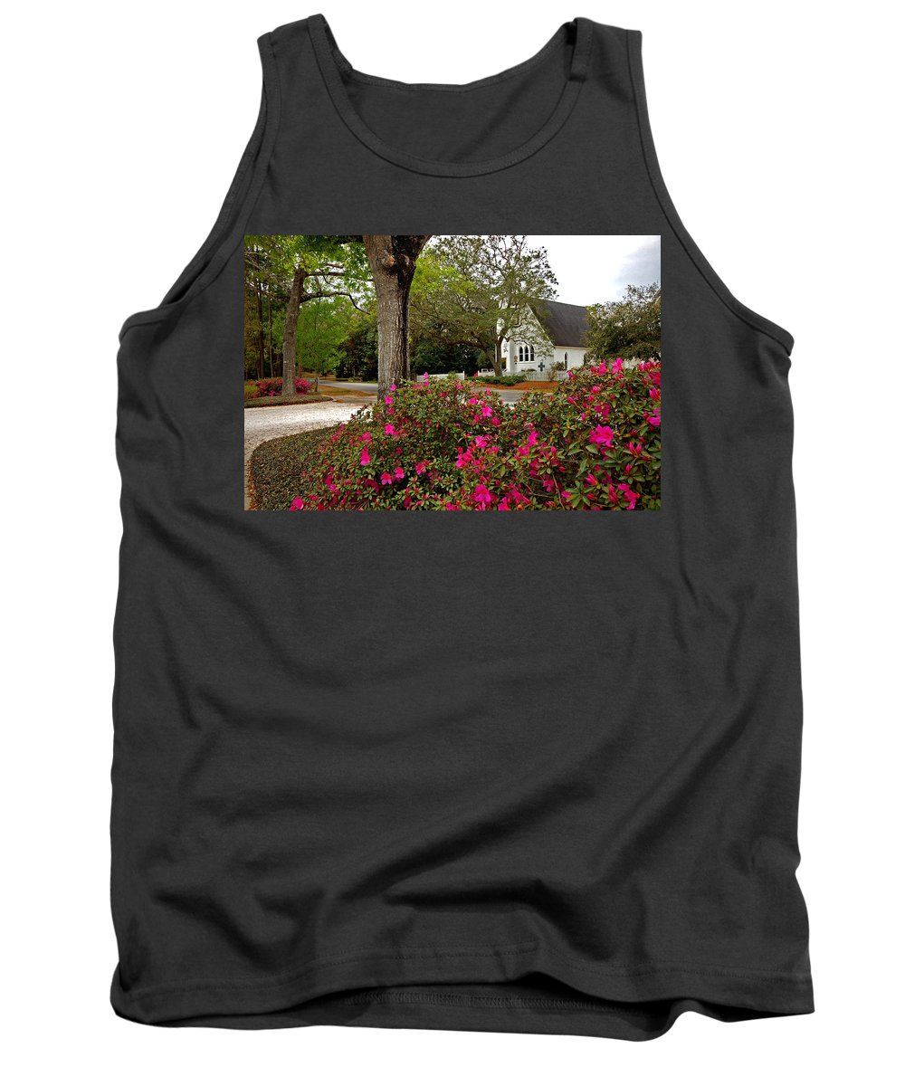 Magnolia Springs Tank Top featuring the painting Magnolia Springs Alabama Church by Michael Thomas
