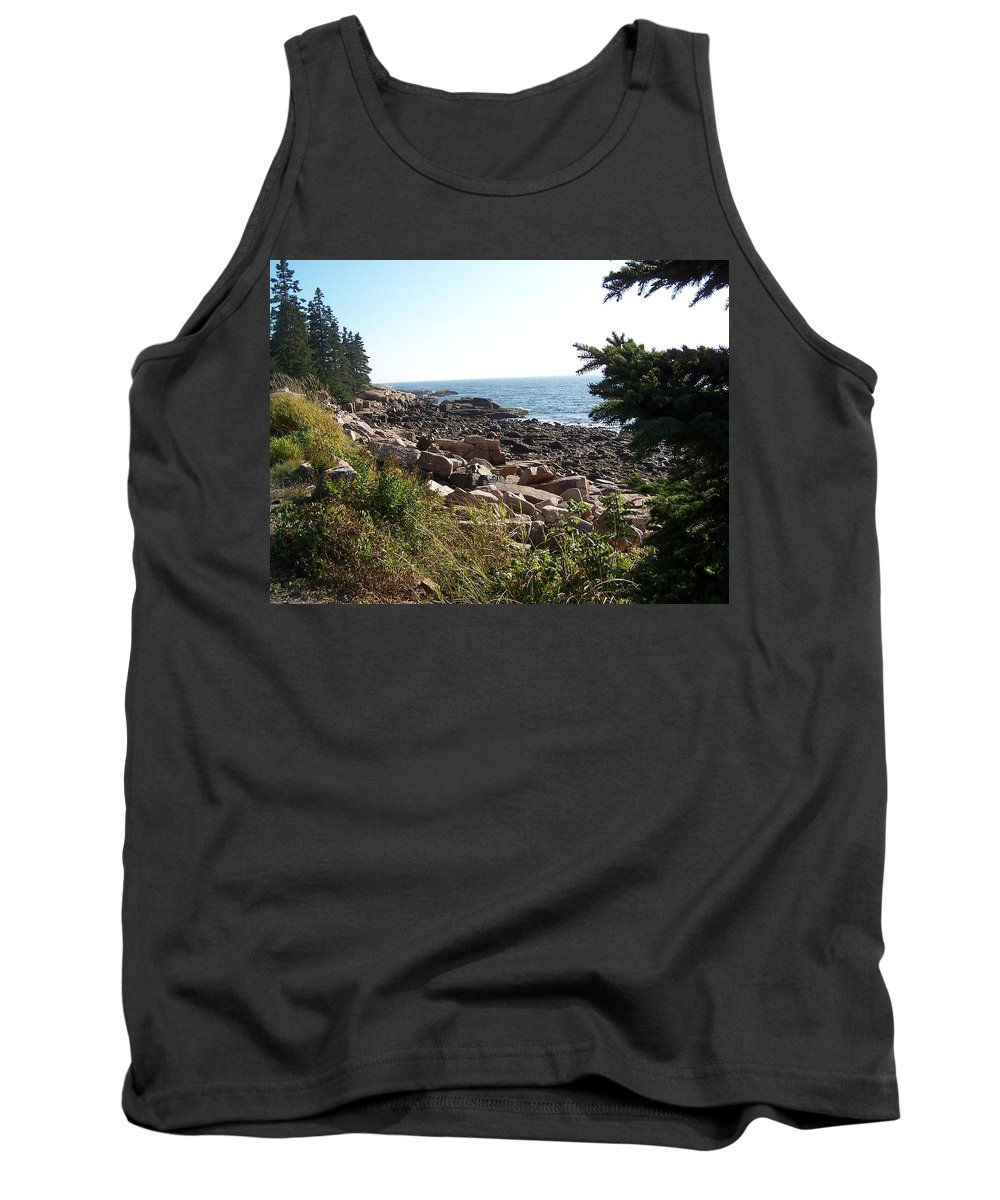 Maine Tank Top featuring the photograph Maine Atlantic Ocean Coast by Holly Eads