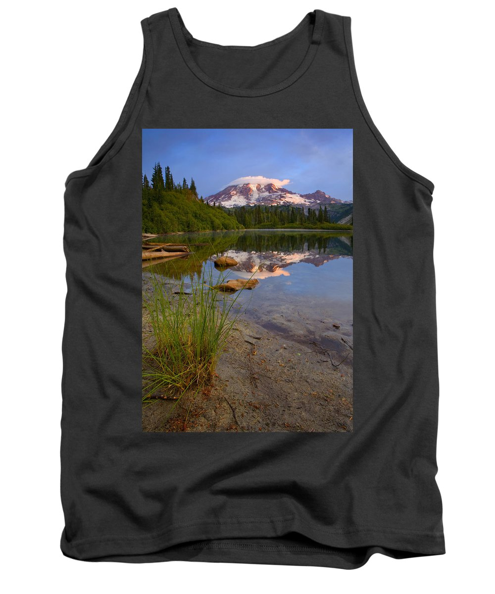 Mt. Rainier Tank Top featuring the photograph Majestic Glow by Mike Dawson