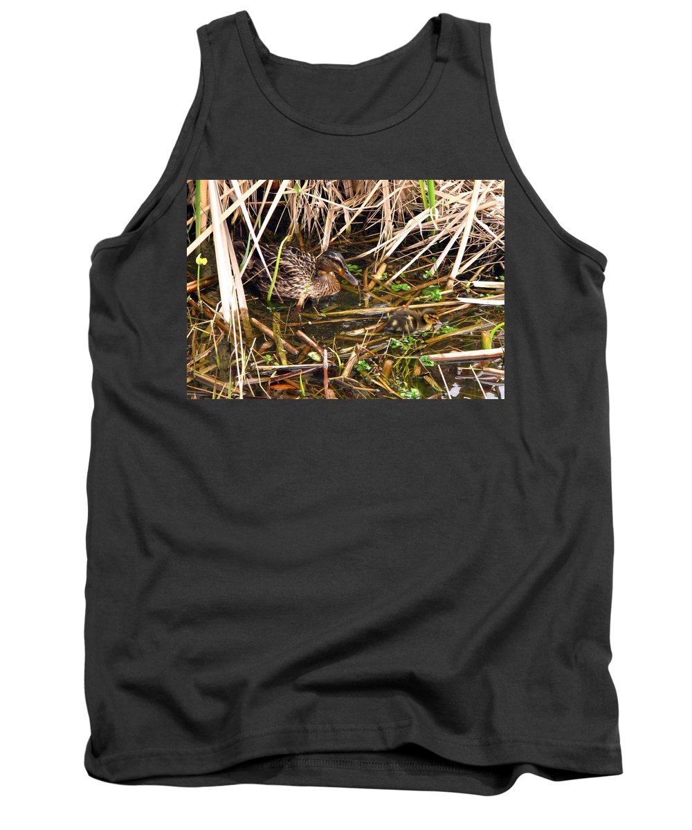 Duck Tank Top featuring the photograph Mallard Mama With Duckling by J M Farris Photography