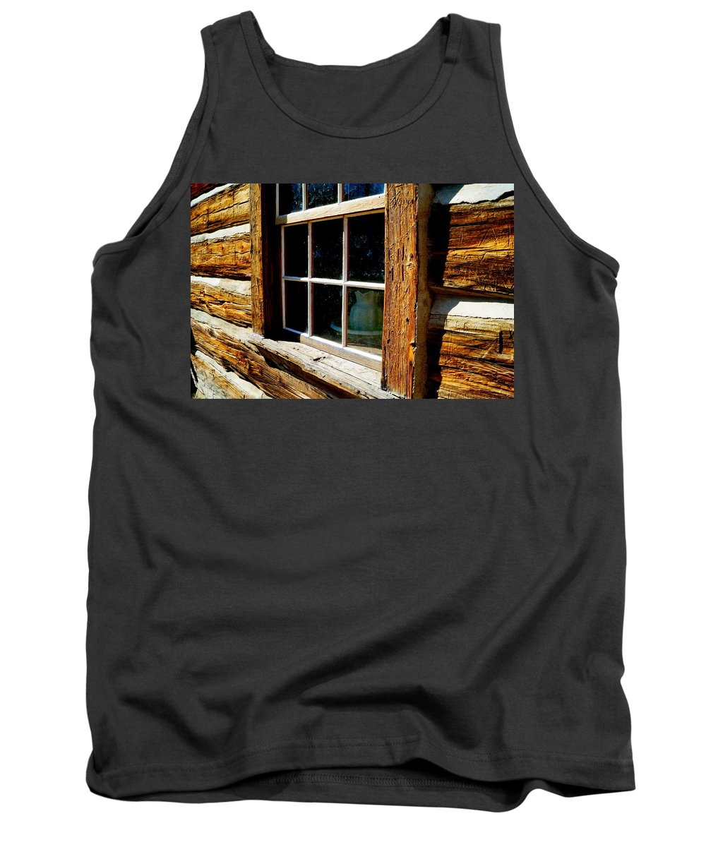 Antique Tank Top featuring the photograph Maltese Cross Cabin Window by Beth Collins