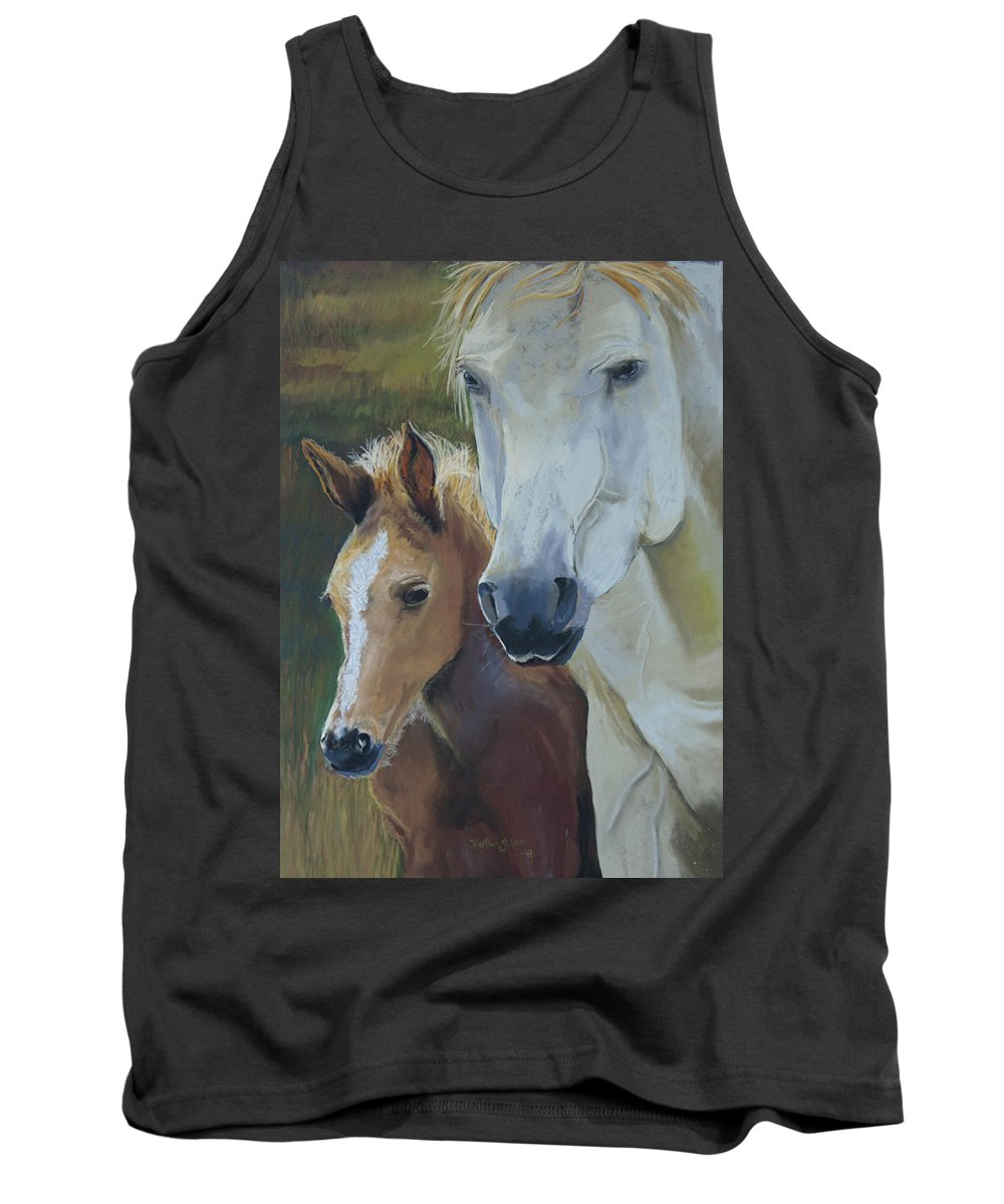 Horses Tank Top featuring the painting Mama's Boy by Heather Coen