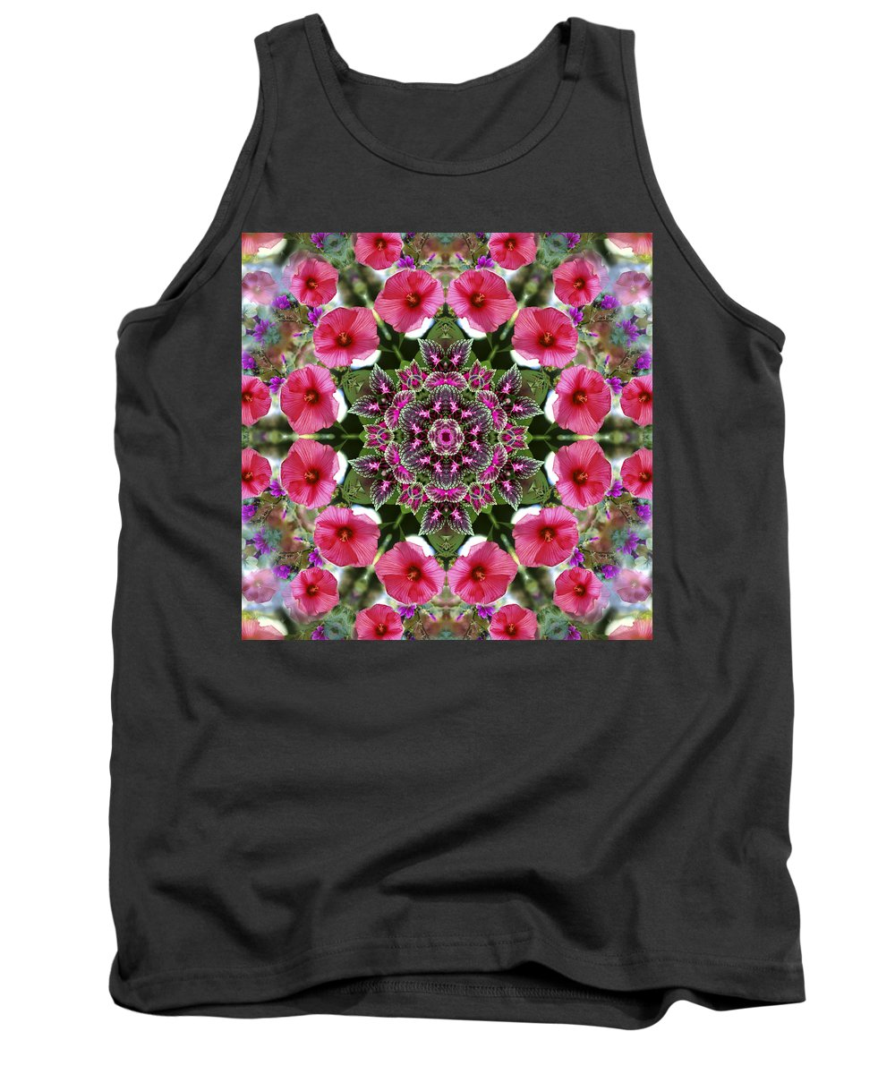 Mandala Tank Top featuring the digital art Mandala Pink Patron by Nancy Griswold
