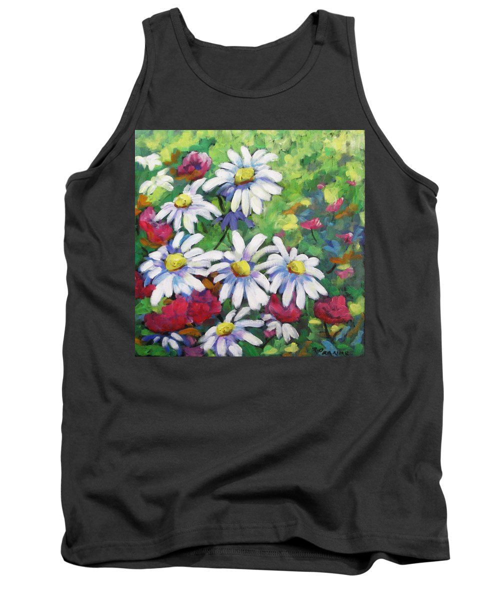 Fleurs Tank Top featuring the painting Marguerites 001 by Richard T Pranke