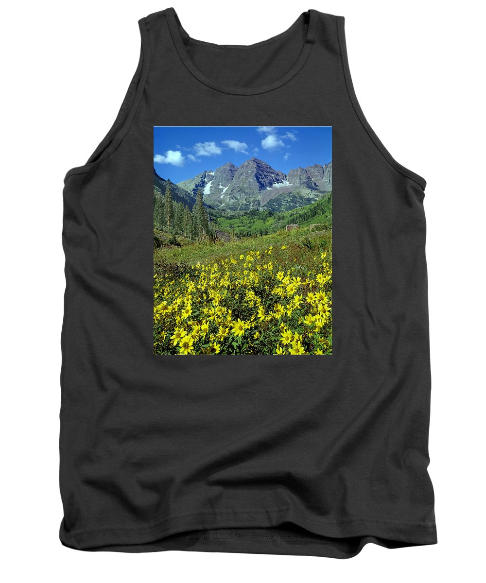 Maroon Bells Tank Top featuring the photograph 210403-v-maroon Bells And Sunflowers by Ed Cooper Photography