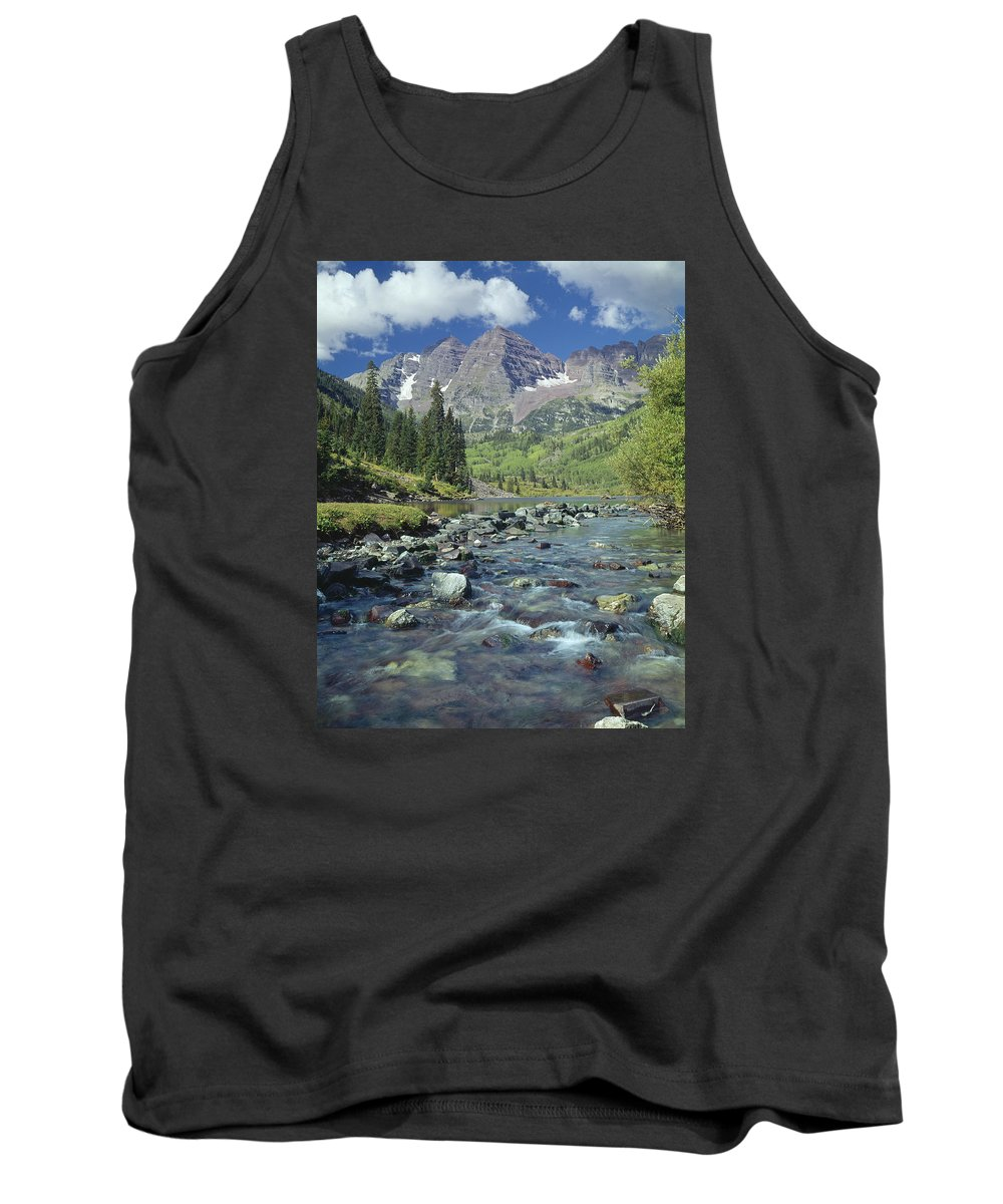Maroon Bells Tank Top featuring the photograph 210404-maroon Bells And Creek by Ed Cooper Photography