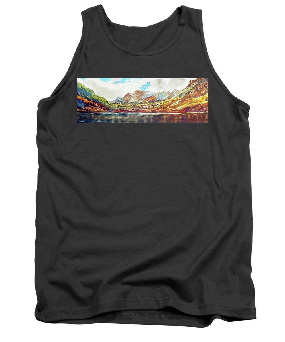 Colorado Landscape Tank Top featuring the painting Maroon Bells by Ugljesa Janjic