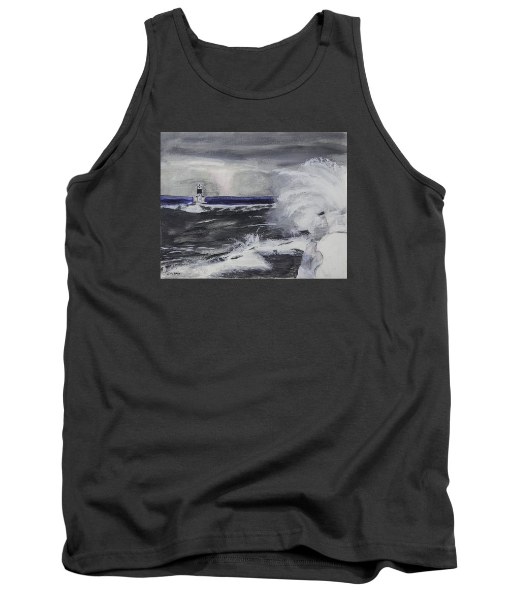 Water Waves Tank Top featuring the photograph Marquette Channel Marker by Jim McGraw